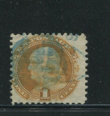 1869 US Stamp #112 1c Used Average Blue Cancel G. Grill Catalogue Value