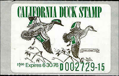 CALIFORNIA #5 1975 STATE DUCK GREEN WINGED TEAL clear waxl backing Paul Johnson