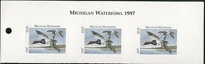 MICHIGAN #22T 1997 STATE DUCK STAMP TOP STRIP OF 3 CANVASBACKS by Mike Monroe