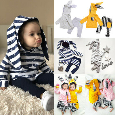 Newborn Baby Boy Girl Stripe Hooded Bunny Ears Top Pants Clothes Outfit UK STOCK