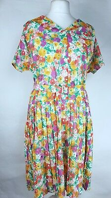 Vintage St Michael Floral Pleated Tea Dress UK 16 Land Girl 80s Flower Power (C)