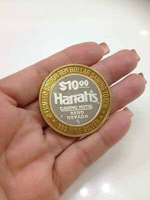 .999 Fine Silver Gaming Token $10 Limited Edition Harrah's Casino Hotel Reno Nv