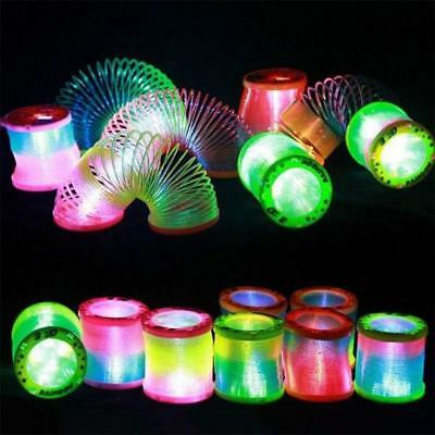 1X Glow In The Dark Rainbow Spring Coil Slinky Fun Toy Stretchy Bouncing 5.5Cm