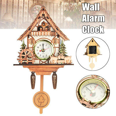 Vintage Wooden Cuckoo Wall Clock Bird Time Bell Swing Alarm Watch Home Decor UK