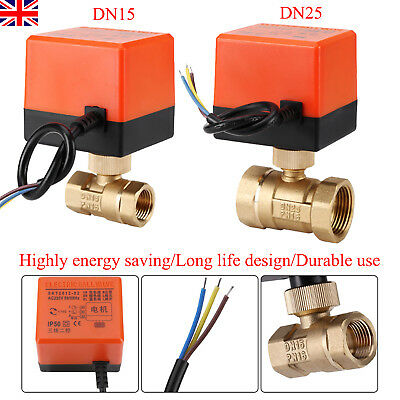 Motorized Ball Valve Brass DN15-25 AC220V 2 Way 3-Wire Electrical Ball Valve UK