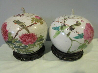 NEAR PAIR SIGNED ANTIQUE CHINESE COVERED JARS / POTS - RED SEAL - late 19th cent
