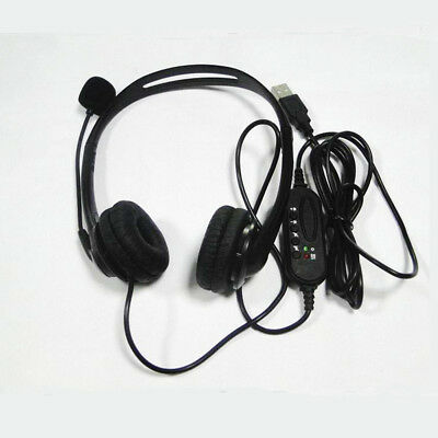 USB Hands-free Call Center Noise Cancelling Corded binaural Headset Headphone