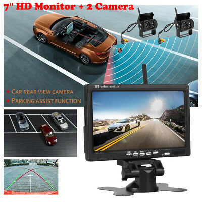 "7"" Monitor+2x Wireless Rear View Backup Camera Night Vision For RV Truck Bus ek"