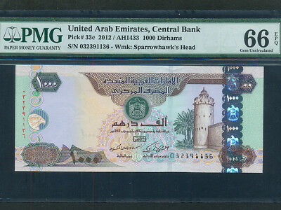 United Arab Emirates (UAE) :P-33c,1000 Dirhams,2012 * PMG Gem UNC 66 EPQ *