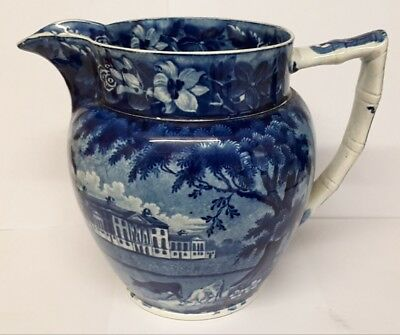Antique Victorian Old English blue & white printed pottery jug.