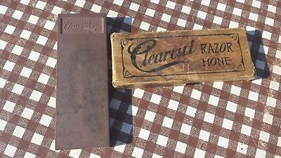 Antique Clearcut Straight Edge Razor Hone Sharpening Stone w/ Box Barbershop
