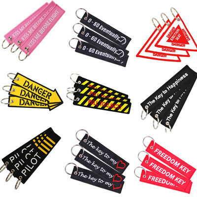 3pcs Pilot Remove Before Flight Motorcycle Embroidered Keychain Key Ring Fob Tag
