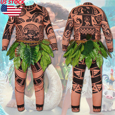 Moana Maui Tattoo T Shirt & Pants Halloween Adult Mens Kids Cosplay Costume US