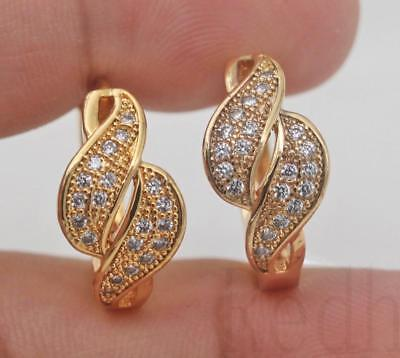 18K Gold Filled -  Swirl Hollow Symmetry White Topaz Pageant Women Hoop Earrings