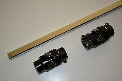 """Polished Stainless 3//4-36 Splined 7//8 6/"""" Long Borgeson 429206 Steering Shaft"""