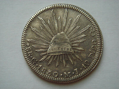 """1830 """"Go MJ"""" MEXICO (First Republic) 8 Reales (27.07g.,.903 silver) in XF Condit"""