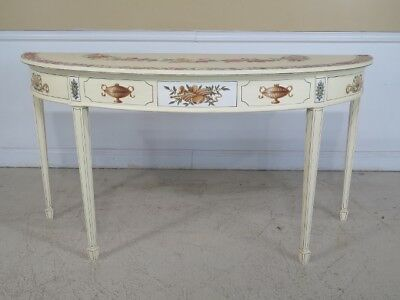 F29540EC: Adam Style Paint Decorated 1/2 Round Console Table