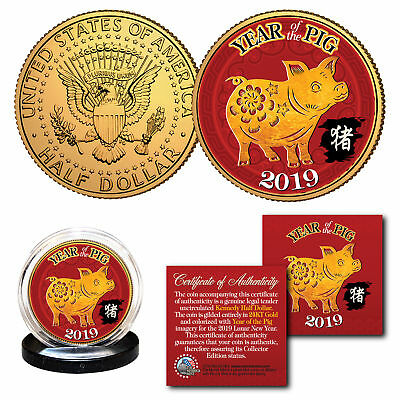 2019 Chinese New YEAR OF THE PIG 24K Gold Plated JFK Kennedy Half Dollar US Coin