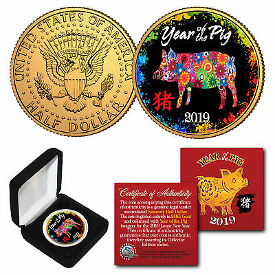2019 Lunar New YEAR OF THE PIG 24K Gold Plated JFK Half Dollar Polychrome BOX