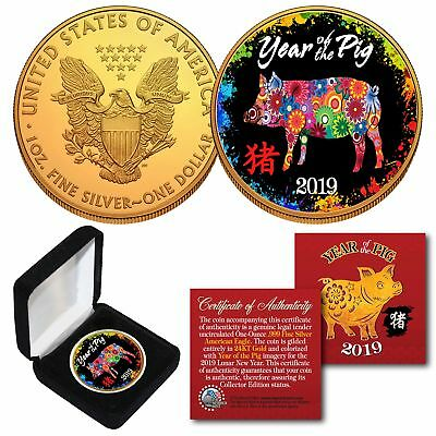 2019 Lunar YEAR OF THE PIG 24K Gold Gilded 1 OZ AMERICAN SILVER EAGLE PolyChrome