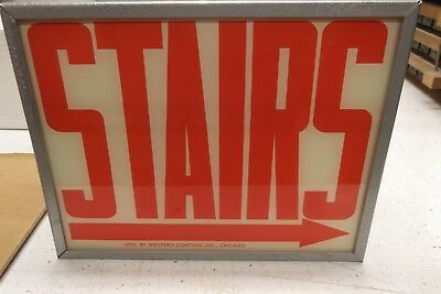 Antique STAIRS Lighted Vintage Red Letters Sign New in original box Stairway