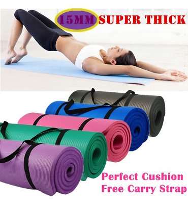 Yoga Mat for Pilates Gym Exercise Carry Strap 15 mm Thick Large Comfortable NBR
