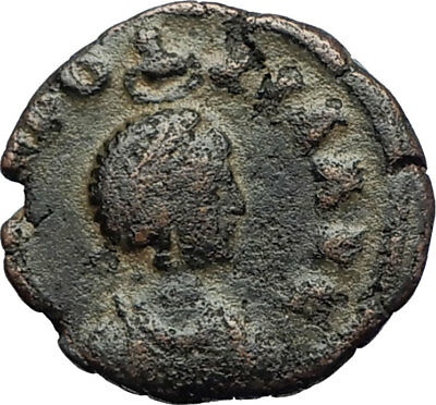 EUDOXIA Arcadius Wife 400AD Authentic Ancient Roman Coin HAND OF GOD i71292