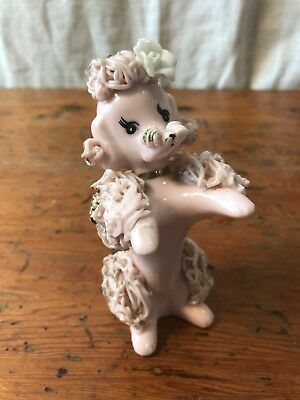 Vintage Sitting Pink Ceramic Spaghetti Poodle Dog Figurine Gold Trim Rose 5""