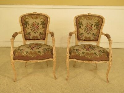 F44381EC: Pair French Louis XV Style Needlepoint Arm Chairs