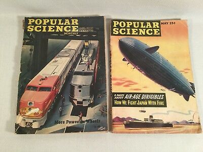Vintage Lot of Two 1945-1946 Popular Science Magazines May October Back Issues