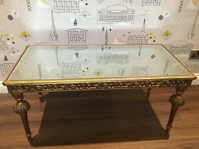 Vintage Gilt Mirror Topped Low Coffee Table Hollywood Regency