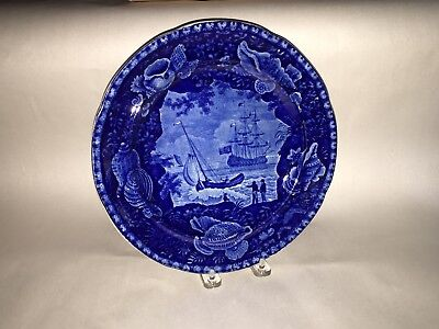 Historical Staffordshire Blue Plate Ship Cadmus By Wood Shell Border 1825