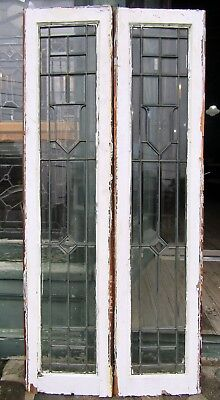 Pair Of Antique Beveled Glass Side Light Windows - Cut Centers