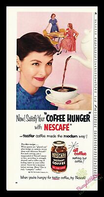 Print Ad~Vintage~1955~Nescafe Instant Coffee~Color~Hunger~Modern Way~I100