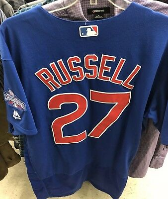 54cb800fb29 CHICAGO CUBS ADDISON RUSSELL 2016 WORLD SERIES Majestic Cool Base Jersey  Size 48