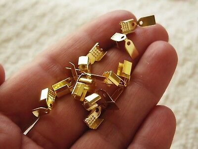 40x Fold Over Flat Cord End Crimp Cap Fit 4mm Leather Ribbon Necklace Clasp Gold