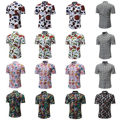Mens Short Sleeve Shirt Formal Casual Smart Tops T-Shirt Slim Fit Geometry Print