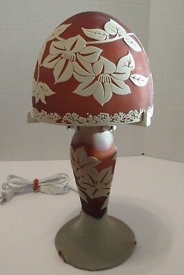 Cameo Glass Lamp Galle Style Mushroom Shade & Lighted Base 15""