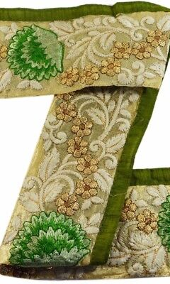 Antique Vintage Sari Border Jari Embroidered Craft Trims Floral Lace 1 Yd Green