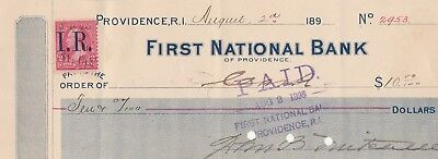 1898   FIRST NATIONAL BANK of PROVIDENCE RHODE ISLAND     W/REVENUE