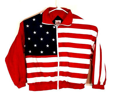 VTG Active Horizon American Flag Gymnastic Track Jacket Women's M Full Zip Lined