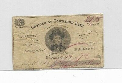 "3 Cent ""townsend Bank"" 1800's Awesome Note!!!!!"" ""rare"" ""townsend Bank"" 3 Cent!"