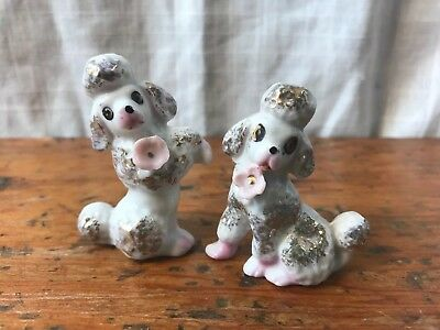 Vintage Set 2 Small White Poodle Dog Figurines Pink Rose Gold Trim Japan, 2.25""