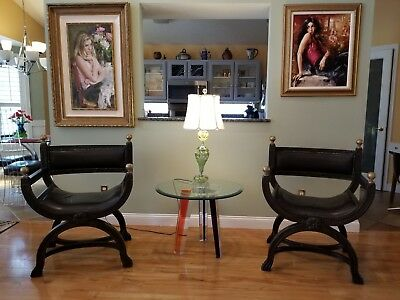 Anitque Throne Curle Savonarola Throne Chairs Pair Great condition.