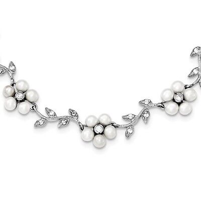 Sterling Silver 16in Freshwater Cultured Pearl and Synthetic CZ Floral Necklace