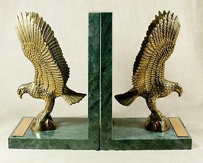 "SET OF 2 BRASS EAGLES ON GREEN MARBLE  BOOKENDS 8Lbs. 8"" Tall with scripture plt"