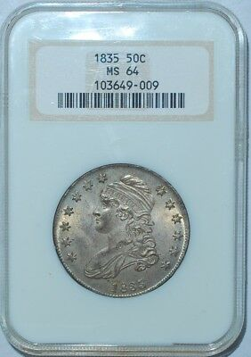 1835 NGC MS64 Capped Bust Half Dollar Old Holder