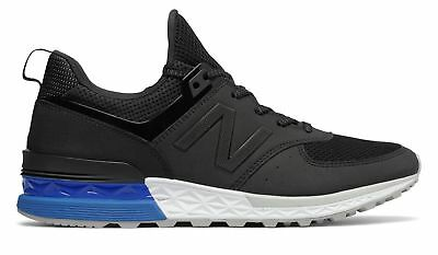 New Balance Men's 574 Sport Shoes Black with Blue