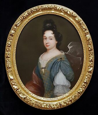 Fine 17th Century French Louis XIV Portrait Pretty Lady Antique Oil Painting Old
