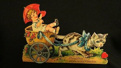 Vintage Kitten Pulling  Basket Valentine Card With Child Early 1900S Germany